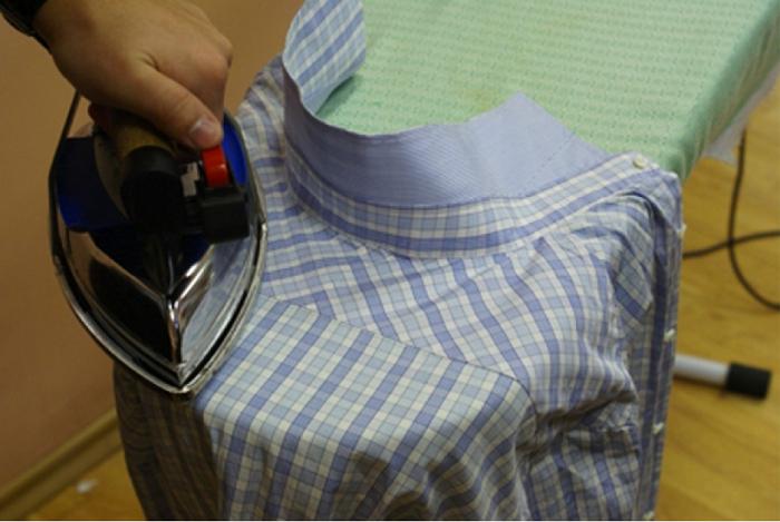 как погладить рубашку с длинным рукавом