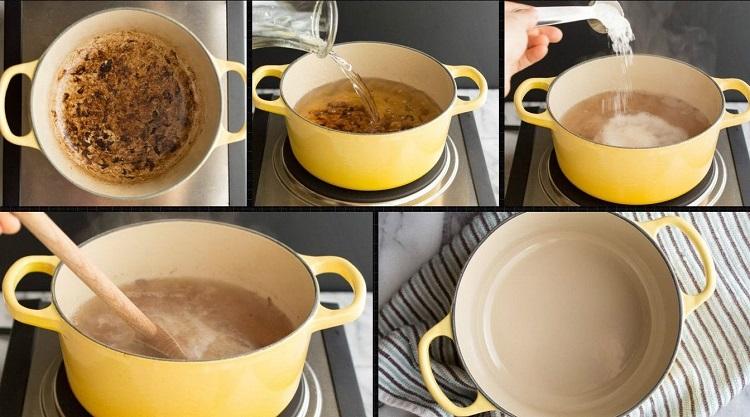 как почистить кастрюлю солью и содой